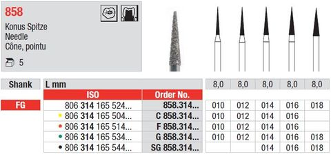Edenta FG Needle Diamond 858/012 Fine
