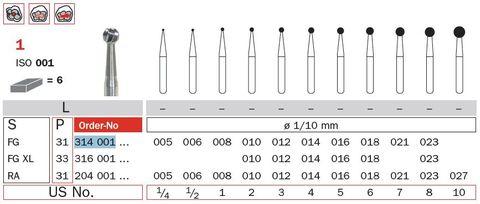 Diaswiss FG Tungsten Carbide Extra Long Round