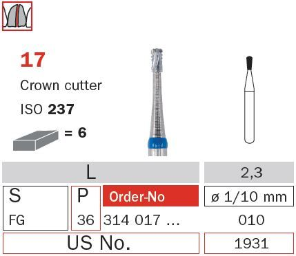Diaswiss FG Crown Cutter Pear T/Carbide 17/012