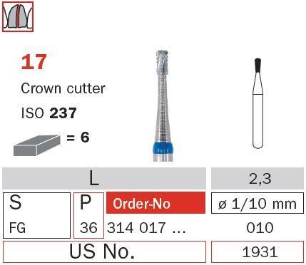 Diaswiss FG Crown Cutter Pear T/Carbide 17/012