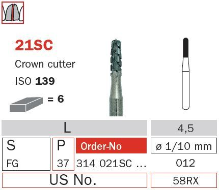 Diaswiss FG Crown Cutter Rnd End T/Carbide 21SC/01