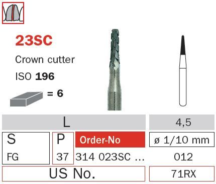 Diaswiss FG Crown Cutter Tapered Tungsten 23SC/012