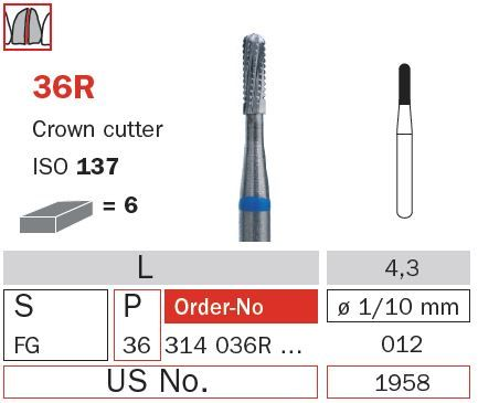 Diaswiss FG Crown Cutter Rnd End T/Carbide 36R/012
