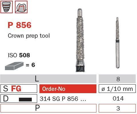 Diaswiss FG Crown Prep w/ Pin P856/014 X-Coarse