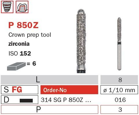 Diaswiss CrownPrep w/Pin Zircona P850Z/016 X-Coars
