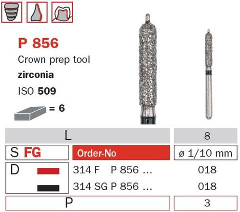 Crown Prep w/ Guide Pin Zircona P856