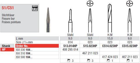 Edenta Fissure Tungsten Carbide Bur C514/023