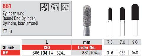 Edenta HP Diamond Round End Cylinder 881/016