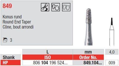 Edenta HP Diamond Round End Taper 849/009