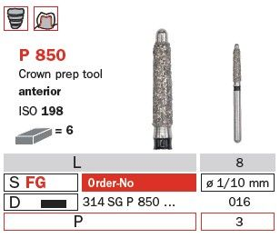 Diaswiss FG Crown Preparation Tool with Guide Pin