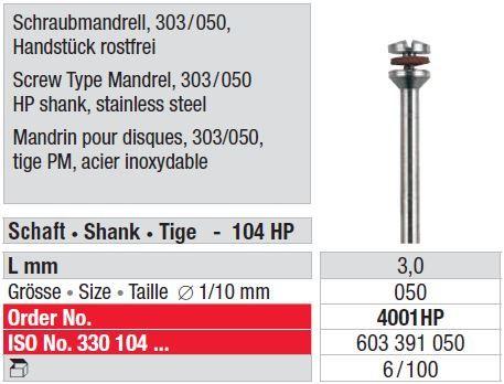 Edenta Stainless Steel Screw Type Mandrel 4001HP