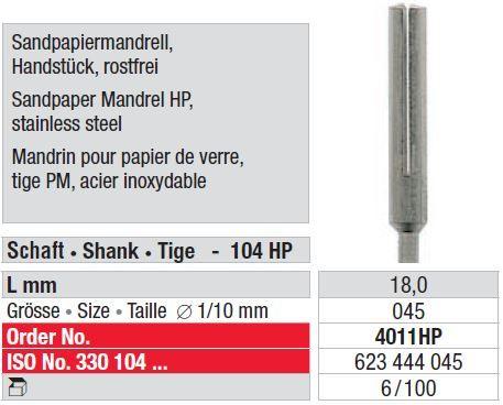 Edenta Stainless Steel Sandpaper Mandrel HP
