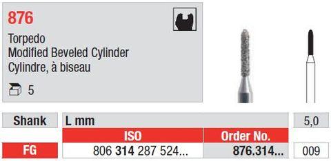 Edenta FG Modified Beveled End Cylinder 876/009 Me