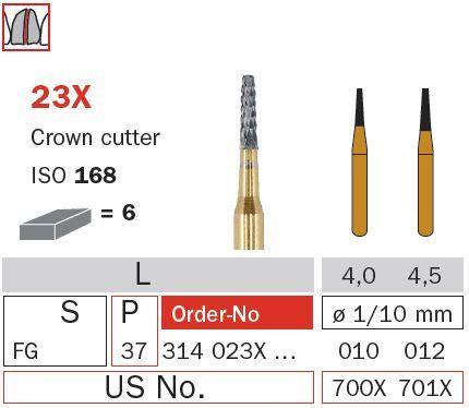 Diaswiss FG Crown Cutter Tapered Tungsten 23X