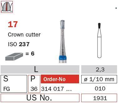 Diaswiss FG Crown Cutter Pear T/Carbide 17/010