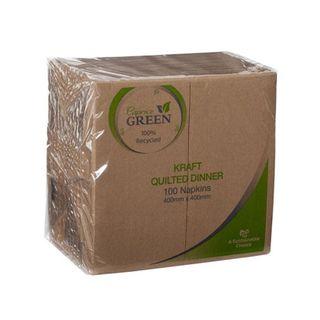 Caprice Green Quilted Kraft Dinner Napkins - GT Fold