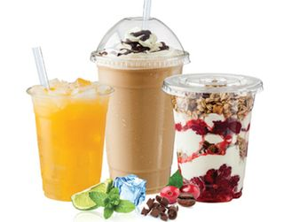 Capri CFLLGE Large Clear Plastic Flat Lid with Straw Slot