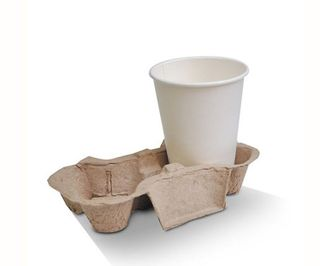 B-CC-802 Biodegradable 2 Cell Takeaway Cup Tray/Holder
