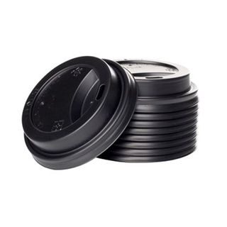 Enjoy Your Coffee 8oz Black Sipper Lids - 80mm