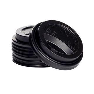 Enjoy Your Coffee 12/16oz Black Sipper Lids - 90mm