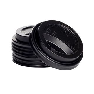 Enjoy Your Coffee 12/16oz Black Sipper Lids - 90mm