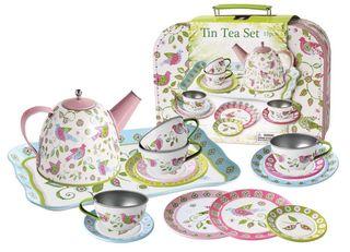 TEA SET TIN BIRD IN CASE