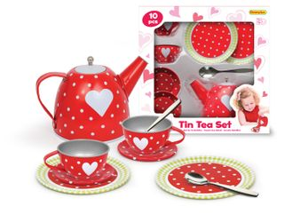 TEA SET TIN RED HEARTS IN BOX