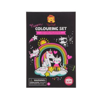 COLOURING SET NEON UNICORNS & FRIENDS
