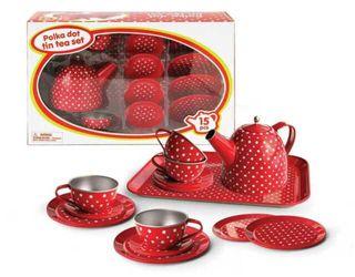 TEA SET TIN RED POLKA DOT 15PCE