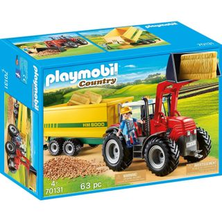 PLAYMOBIL TRACTOR W/ FEED TRAILER 70131
