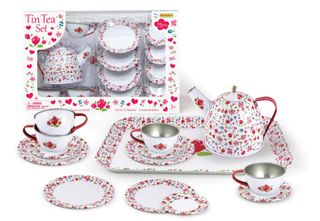 TEA SET TIN WHITE FLOWER IN A BOX
