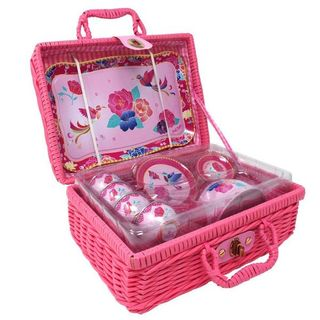 MY DARLING TIN TEA SET IN BASKET PINK