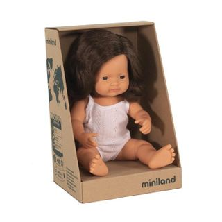 MINILAND BABY DOLL BRUNETTE HAIR 38CM
