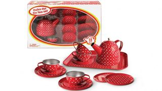 TEA SET TIN RED POLKA DOT 15 PCES