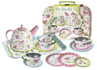 TEA SET TIN BIRD IN SUITCASE