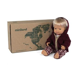 MINILAND BOXED BABY DOLL BOY BLONDE 38CM