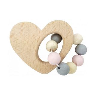 HESS SPIELZEUG RATTLE HEART NATURAL PINK