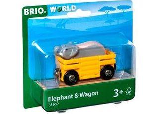 BRIO ELEPHANT & WAGON 2PCS 33969