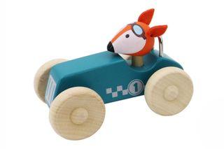 RETRO MED RACING CAR W/ CUTE FOX DRIVER