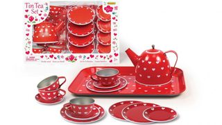 TEA SET TIN RED HEART