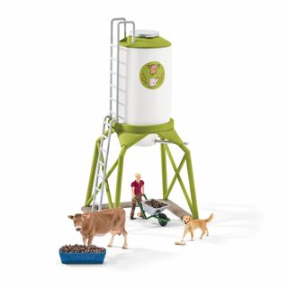 FEED SILO WITH ANIMALS
