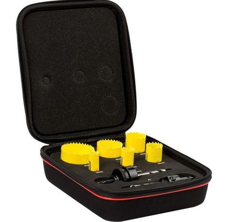 16-51mm  Electrician's Holesaw Kit - Eva Case - Starrett 7 piece Contains: 16,20,25,40,51mm Hole Saws plus both large and small arbors.