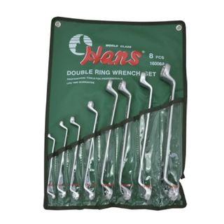 "1/4"" - 1-1/4"" 75deg 8pc Double Ring Wrench Set - HANS"