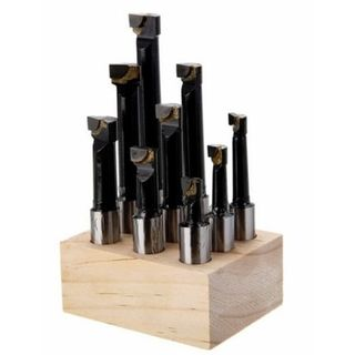12mm x 9pce Carbide Tip Boring Bar Set in Wooden Block - DTD