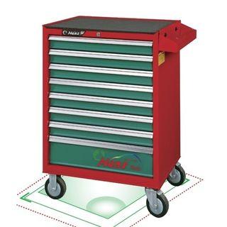 8 Drawer- Roll Cabinet Heavy Duty Red/Green Lockable - Hans