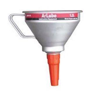 160mm Dia x 20mm outletx 1.2Ltr Cap. - Heavy Duty Metal Funnel c/w Brass Filter - Arolube