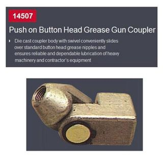 Button Head Grease Gun Coupler push on coupler for standard button head grease nipples, includes built in swivel - Arolube