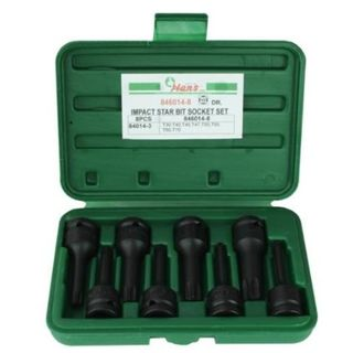 "T30 - T70 x 1/2"" Dr 8 pc Torx Impact Socket Set in ABS Case - Hans Tools"