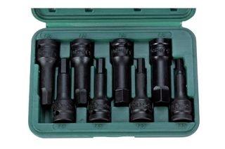 "6mm - 19mm x 1/2"" Dr 8 pc Hex Impact Bit Socket Set in ABS Case - Hans Tools"
