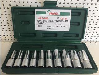 3/8' - 15/16' 10Pce 1/2' Dr. 12Pt DEEP SAE Socket Set ABS Case - Hans
